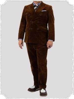 コーデュロイ生地のスーツ